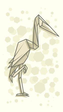 Vector abstract simple illustration drawing outline heron.