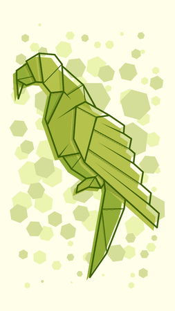 Vector abstract simple illustration drawing outline parrot.