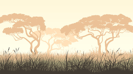 Vector pastel horizontal illustration with African landscape, meadow grass and acacia. Illustration