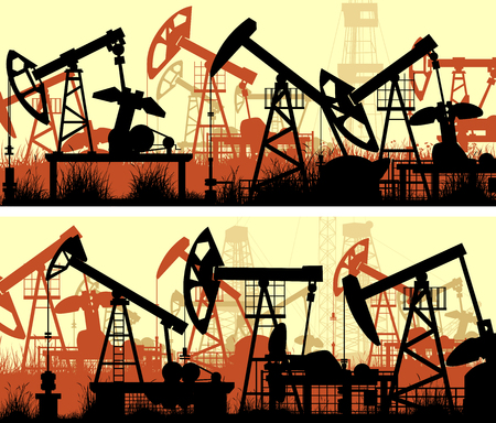 Set of horizontal banners of abstract illustration of large number oil pumping units.