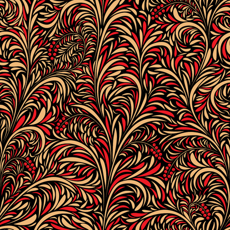 Seamless floral pattern of traditional Russian folk art painting (hohloma).