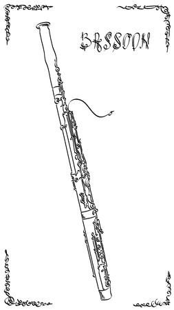 Abbozzo di arti grafiche astratte di vettore del disegno fagotto (strumento musicale a fiato). Vettoriali