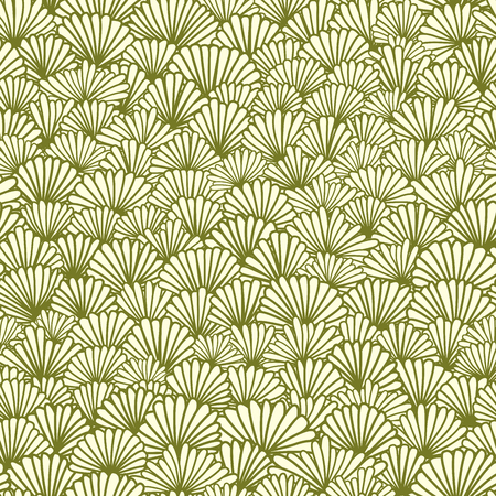 Vector seamless abstract light pastel green colors pattern of chamomile flowers.