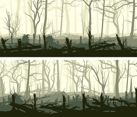 Set of horizontal banners with silhouettes of many broken tree driftwood trunks (windbreak, deadwood, windfall).