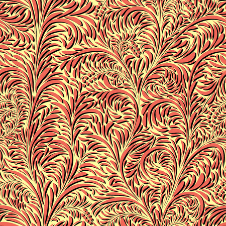Seamless floral red yellow pattern of leaves, petals and berries with shadows.