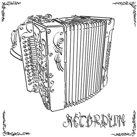 Vektorstilisierte Grafikskizze des Zeichnens von zweireihigem Akkordeon.