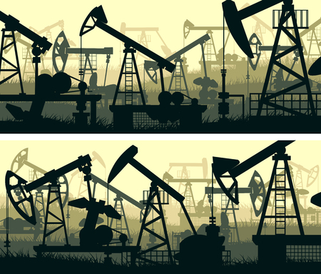 Set of horizontal illustration banners of a large number oil pumping units in green tone.