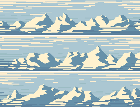Set of horizontal retro banners with snowy blue mountains.