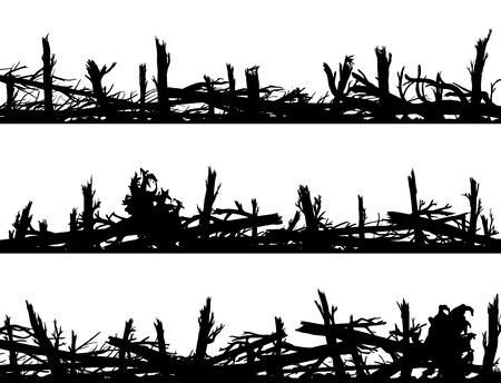 Set of horizontal silhouette banners with many broken tree trunks (windbreak, deadwood, windfall). Illustration