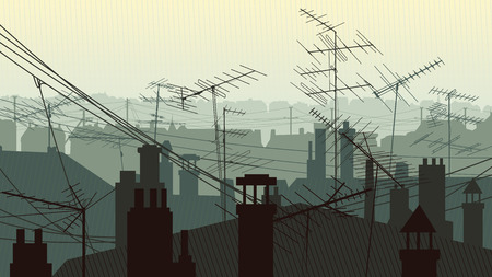 Horizontal illustration roofs of houses with chimney pipes and antennas television aerials and hanging wires.  イラスト・ベクター素材