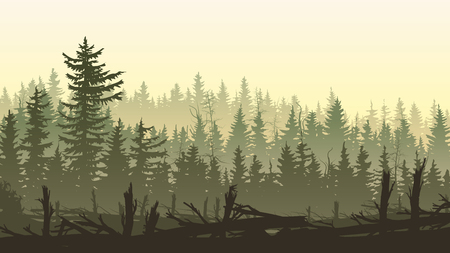 Horizontal illustration silhouettes of driftwood trunks with coniferous forest.