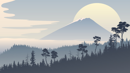 Horizontal stylized illustration with coniferous forest hills and mountain peak in blue tone.