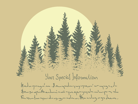 Horizontal vector card with stylized illustration of coniferous forest and sun, place for text.