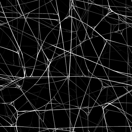 Seamless realistic black background with sticky web of spider. 向量圖像