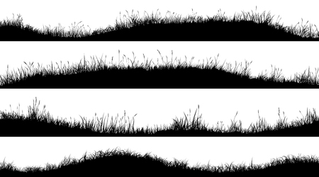 Set of horizontal banners of wavy meadow silhouettes with grass. Illusztráció