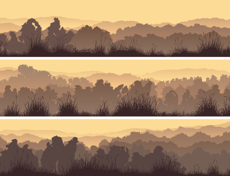 Set of horizontal banners of deciduous forest with grass. Stock Illustratie