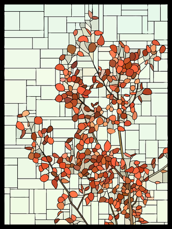 angular mosaic with red leaves of an autumn tree stained-glass window frame.