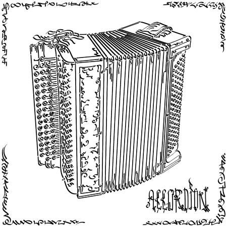 Vektor stilisierte grafische Kunstskizze des Zeichnens des großen Akkordeons.