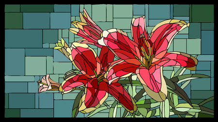 angular mosaic with blooming red lilies with buds stained-glass window frame. Stock Illustratie
