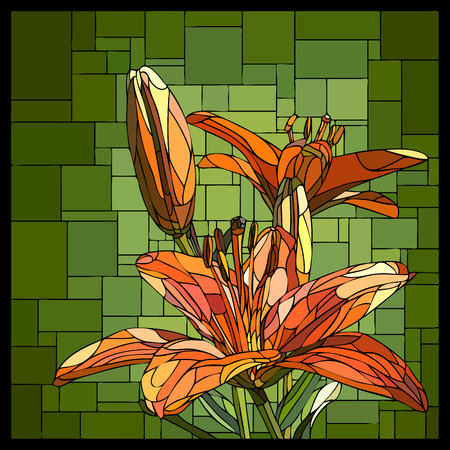 square angular mosaic of blooming orange lilies with buds in green stained-glass window.