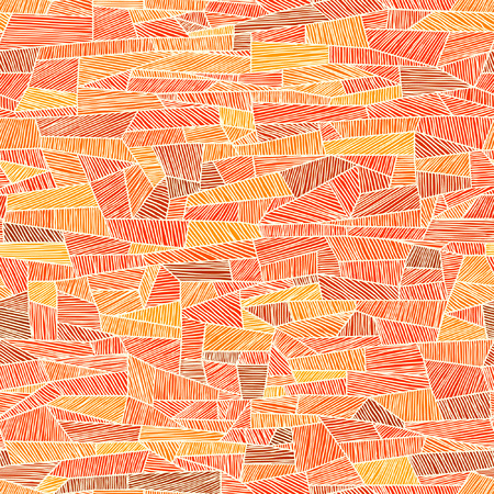 Seamless abstract orange background of shaded by lines shapes.