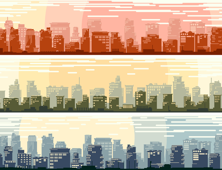 Set of horizontal banners of cartoon stylized big city with downtown and skyscrapers.