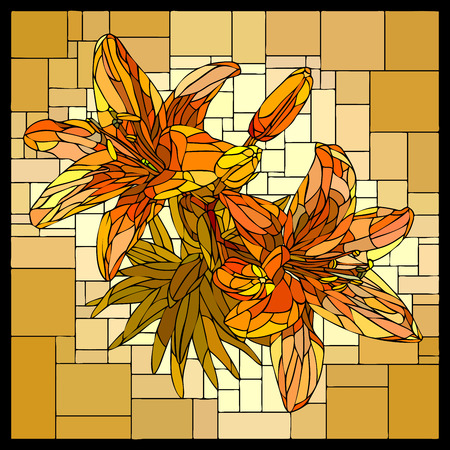 square angular mosaic of blooming orange lilies with buds in yellow stained-glass window. Ilustracja