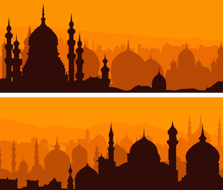 Set of horizontal simple banners of eastern city with temples at sunset.