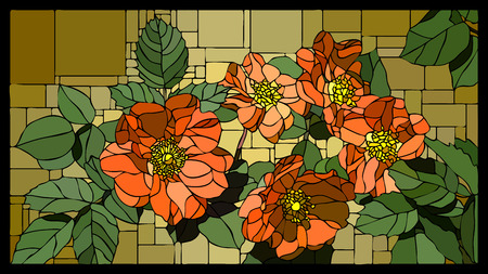 angular mosaic with blooming dog rose with buds stained-glass window frame. Stock Illustratie