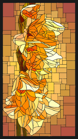 angular mosaic with blooming yellow gladiolus with buds stained-glass window frame.