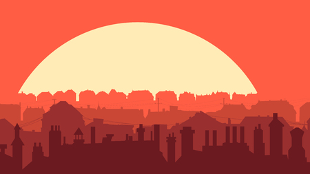 Horizontal simple illustration with old historic part of city at sunset. Stock Illustratie