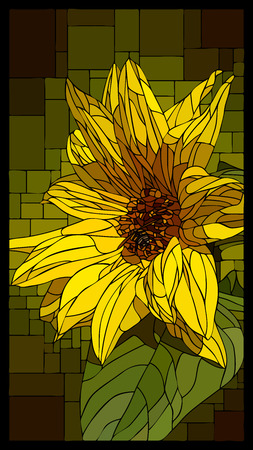 angular mosaic with blooming yellow sunflower stained-glass window frame.