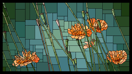 angular mosaic with blooming orange poppies (Papaver) with buds stained-glass window frame.