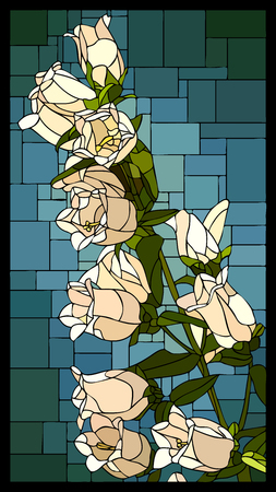 angular mosaic with blooming white campanula with buds stained-glass window frame.