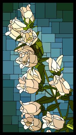 mosaico angolare con campanula fiorita bianca con cornice di vetrata a boccioli. Vettoriali