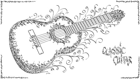 Vector stylized graphic arts sketch of drawing classic guitar.