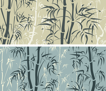 Set of horizontal banner with bamboo trees in green and blue color. Ilustrace