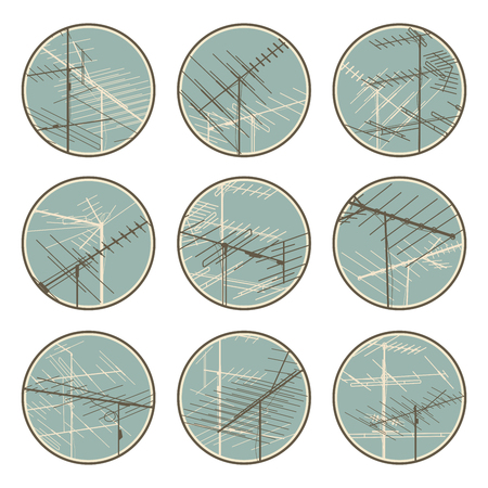 Set of round emblems of stylized television aerials antennas in blue tone.