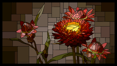 angular mosaic with blooming helichrysum (everlasting) with buds stained-glass window frame.