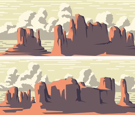 Set of vector stylized banner of wild west desert area with rocks and clouds. Stock Illustratie