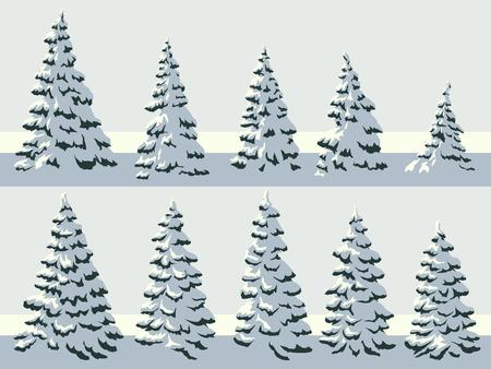 Set of vector simple illustration of snowy spruce trees (fir, fir-tree). Illustration