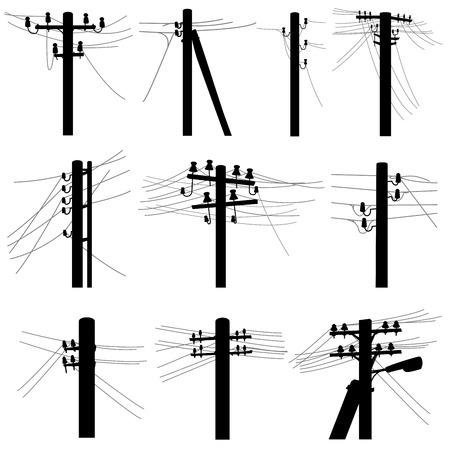Conjunto de postes de líneas eléctricas simples de siluetas vectoriales con cables en la transmisión de voltaje medio (pilares de madera y hormigón).