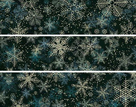 Set of horizontal banners of night winter and snowflakes snowfall.