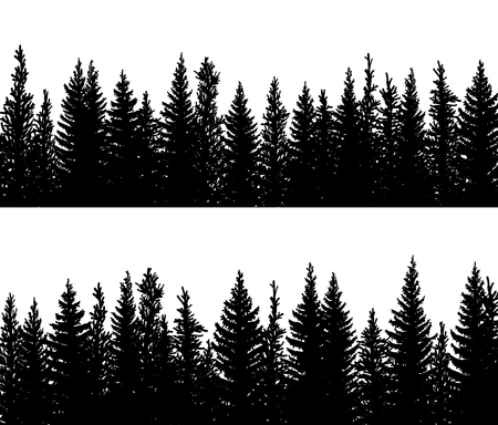 Set of vector horizontal banner silhouettes of coniferous treetops forest (spruce,fir, fir-tree).