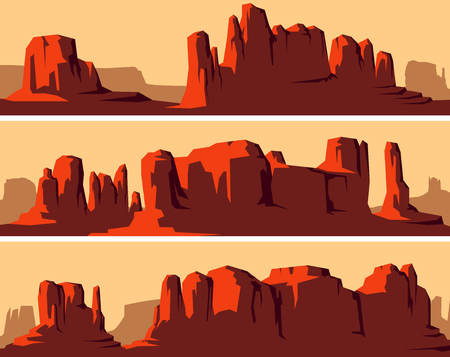 Set of vector stylized banner of wild west desert area with rocks (Monument Valley) at sunset.
