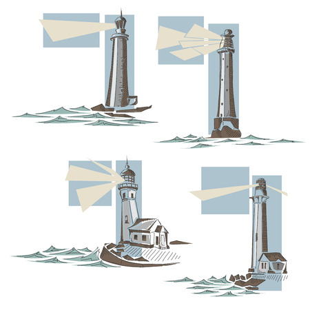 Set of simple cartoon stylized illustrations of lighthouse with rays of light and waves. Illusztráció