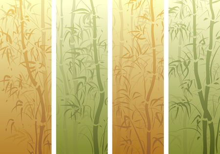 Set of vertical banner with many bamboos tree in green and yellow color. Ilustrace