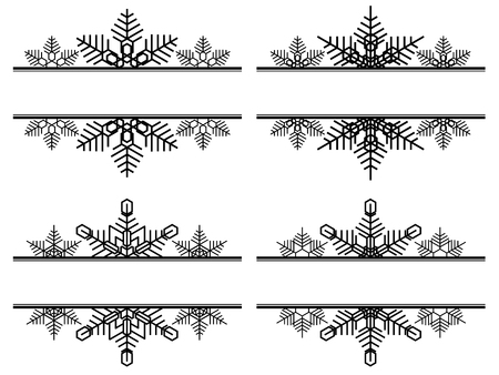 Set of simple label decoration from snowflakes with space for title.