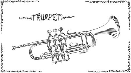 abstract graphic arts sketch of drawing trumpet ( wind musical instrument ).