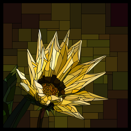 angular mosaic with blooming yellow gazania stained-glass window frame.